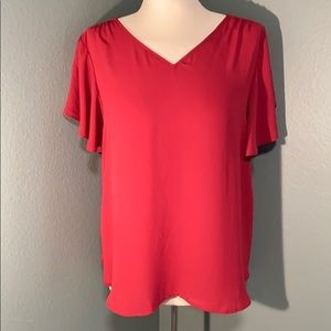 Loft short ruffle sleeve blouse